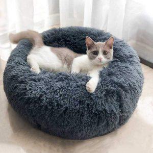 Genlesh Panier Rond pour Chien et Chat en Peluche Douce et Confortable pour Dormir en Hiver, Gris foncé, 60 cm